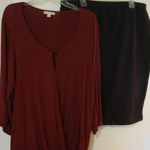 ❤2X (20) burgundy DB Blouse & Navy Blue Skirt